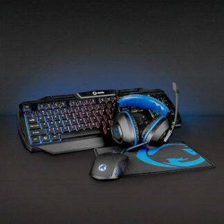 Nedis Gaming Combo Kit | 4-i-1 | Tangentbord, headset, mus och musmatta | Svart/Blå | AZERTY | FR Layout